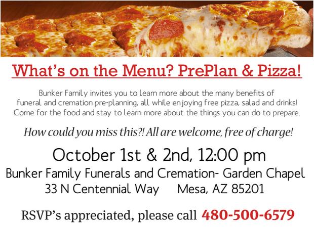 PrePlan & Pizza – October 1st & 2nd